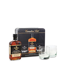 CANADIAN CLUB CLASSIC  W/GLASSES GIFT TIN